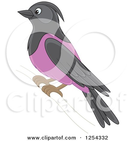 Clipart of a Purple Martin Bird - Royalty Free Vector Illustration by Alex Bannykh