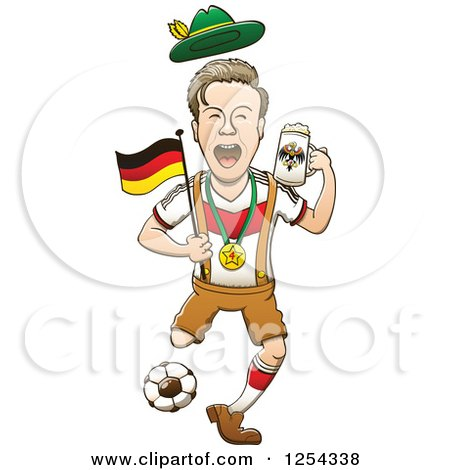 Clipart of a Happy German Soccer Sports Fan Cheering - Royalty Free Vector Illustration by Zooco