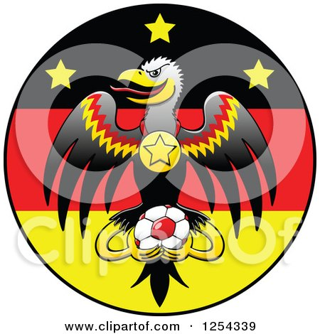 Clipart of a German Eagle with a Medal and Soccer Ball over a Flag Circle - Royalty Free Vector Illustration by Zooco