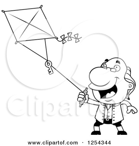 Clipart of Black and White Benjamin Franklin Flying a Kite ...