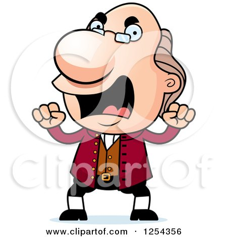 Clipart of Mad Benjamin Franklin Waving Fists - Royalty Free Vector Illustration by Cory Thoman