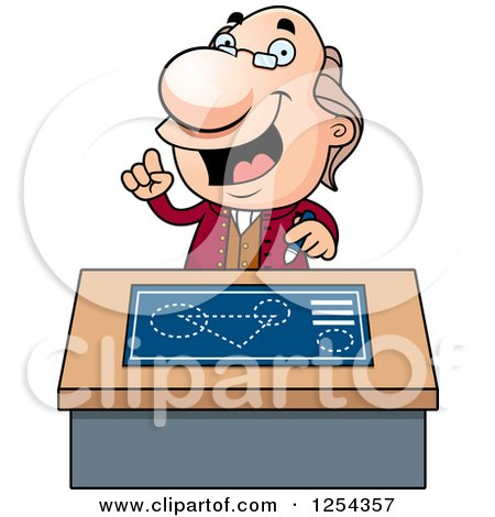 Clipart of Benjamin Franklin Talking at a Desk - Royalty Free Vector Illustration by Cory Thoman