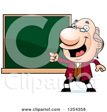 Clipart of Benjamin Franklin Pointing to a Chalkboard - Royalty Free Vector Illustration by Cory Thoman