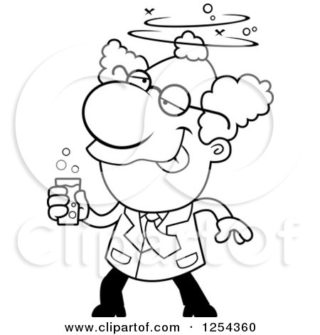 Clipart of a Black and White Drunk Mad Scientist - Royalty Free Vector Illustration by Cory Thoman