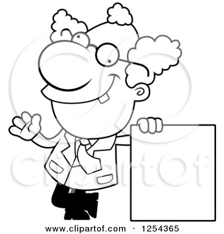 Clipart of a Black and White Mad Scientist Waving by a Blank Sign - Royalty Free Vector Illustration by Cory Thoman