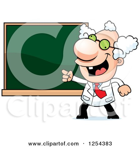Clipart of a Mad Scientist Pointing to a Chalk Board - Royalty Free Vector Illustration by Cory Thoman