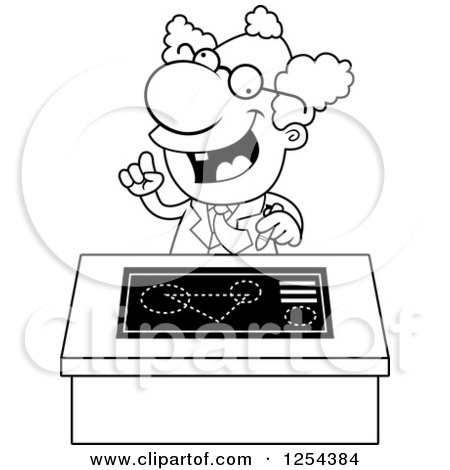 Clipart Of A | Black and White Mad Scientist Talking at a Desk  | Royalty Free Vector Illustration by Cory Thoman