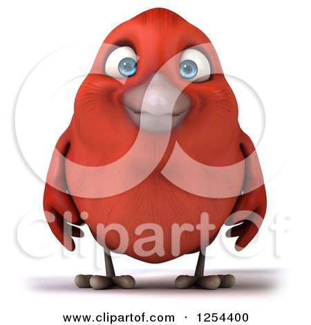 Clipart of a 3d Red Bird - Royalty Free Illustration by Julos