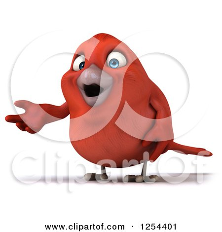 Clipart of a 3d Red Bird Presenting - Royalty Free Illustration by Julos