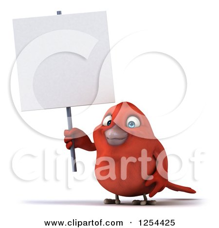 Clipart of a 3d Red Bird Holding a Blank Sign - Royalty Free Illustration by Julos