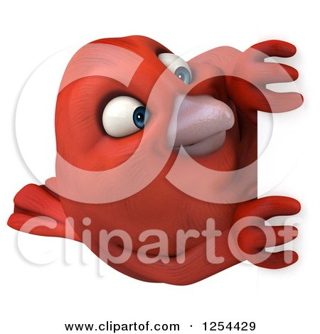 Clipart of a 3d Red Bird Looking Around a Sign - Royalty Free Illustration by Julos