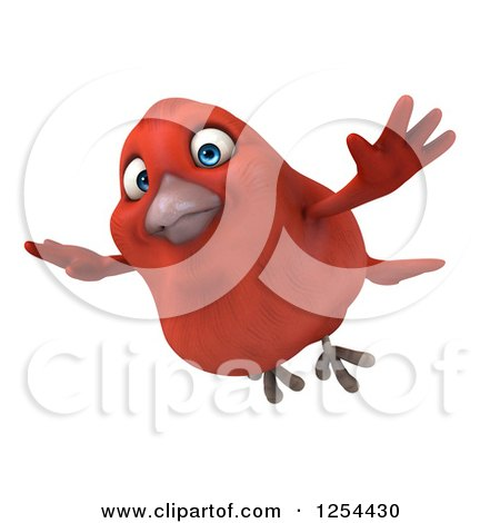 Clipart of a 3d Red Bird Flying - Royalty Free Illustration by Julos