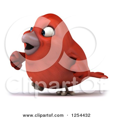 Clipart of a 3d Red Bird Walking - Royalty Free Illustration by Julos