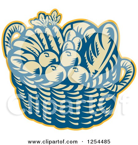 Clipart of a Retro Woodcut Basket of Fruit and Bread - Royalty Free Vector Illustration by patrimonio