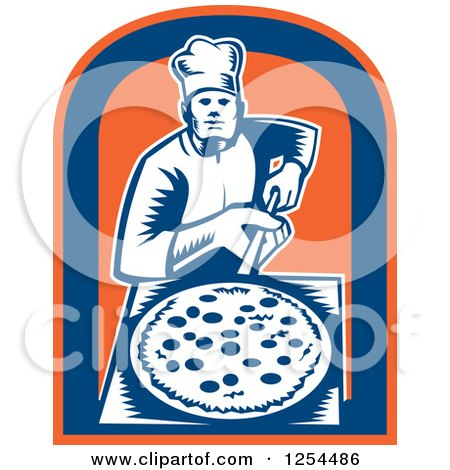 Clipart of a Retro Woodcut Chef with a Pizza on a Peel in a Blue and Orange Shield - Royalty Free Vector Illustration by patrimonio