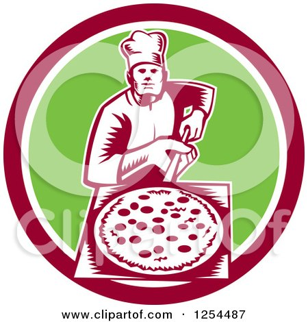 Clipart of a Retro Woodcut Chef with a Pizza on a Peel in a Green and Red Circle - Royalty Free Vector Illustration by patrimonio