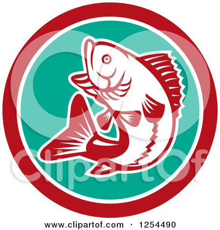 Clipart of a Retro Woodcut Largemouth Bass Fish Jumping in a Turquoise and Red Circle - Royalty Free Vector Illustration by patrimonio