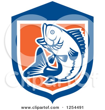 Clipart of a Retro Woodcut Largemouth Bass Fish Jumping in a Blue and Orange Shield - Royalty Free Vector Illustration by patrimonio