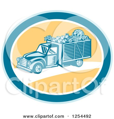 Clipart of a Retro Woodcut Produce Delivery Truck in a Yellow and Blue Oval - Royalty Free Vector Illustration by patrimonio