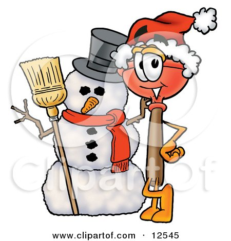 Clipart Picture of a Sink Plunger Mascot Cartoon Character With a Snowman on Christmas by Toons4Biz