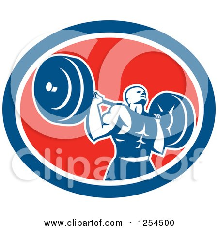 Clipart of a Retro Male Bodybuilder Squatting with a Barbell in a Red White and Blue Oval - Royalty Free Vector Illustration by patrimonio