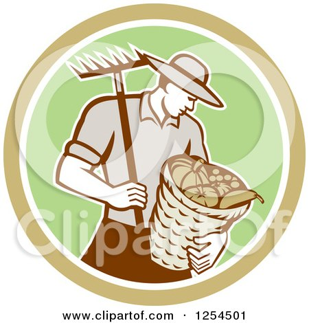Clipart of a Retro Male Farmer Carrying a Harvest Bushel Bucket and Rake in a Brown and Green Circle - Royalty Free Vector Illustration by patrimonio