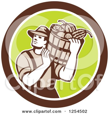 Clipart of a Retro Male Farmer Carrying a Harvest Bushel Bucket in a Brown and Green Circle - Royalty Free Vector Illustration by patrimonio