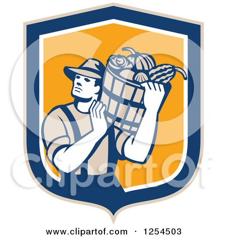 Clipart of a Retro Male Farmer Carrying a Harvest Bushel Bucket in a Blue and Orange Shield - Royalty Free Vector Illustration by patrimonio
