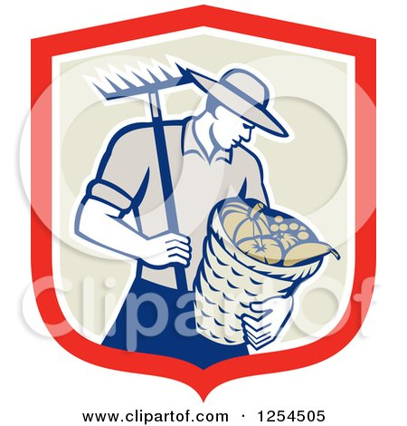 Clipart of a Retro Male Farmer Carrying a Harvest Bushel Bucket and Rake in a Shield - Royalty Free Vector Illustration by patrimonio