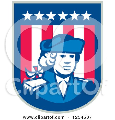 Clipart of a Retro American Patriot Soldier in a Shield - Royalty Free Vector Illustration by patrimonio