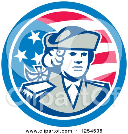 Clipart of a Retro American Patriot Soldier in a Circle - Royalty Free Vector Illustration by patrimonio
