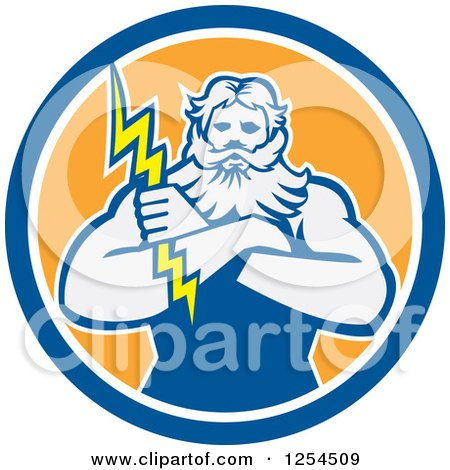 Clipart of a Retro Zeus Holding a Thunder Bolt in a Blue and Orange Circle - Royalty Free Vector Illustration by patrimonio