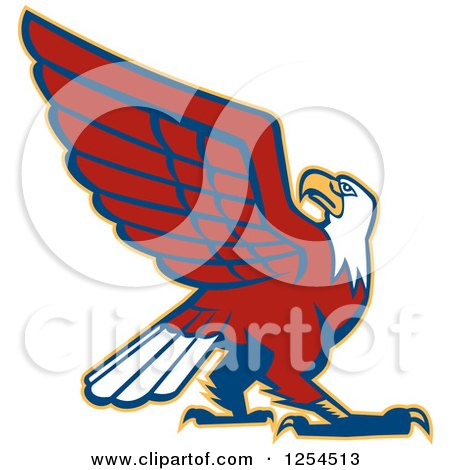 Clipart of a Retro Bald Eagle - Royalty Free Vector Illustration by patrimonio
