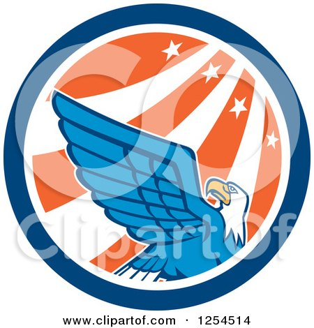 Clipart of a Retro Bald Eagle in a Star and Stripes Circle - Royalty Free Vector Illustration by patrimonio