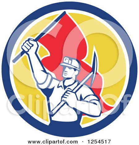 Clipart of a Retro Male Coal Miner Holding a Pickaxe and Red Flag in a Circle - Royalty Free Vector Illustration by patrimonio