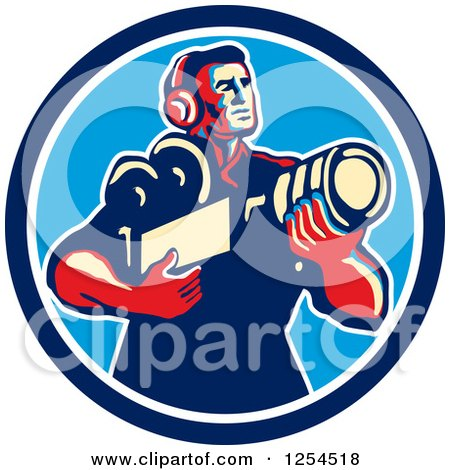 Clipart of a Retro Cameraman Holding His Camera in a Circle - Royalty Free Vector Illustration by patrimonio