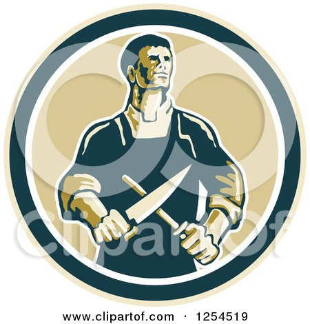 Clipart of a Retro Male Butcher Sharpening a Knife in a Circle - Royalty Free Vector Illustration by patrimonio