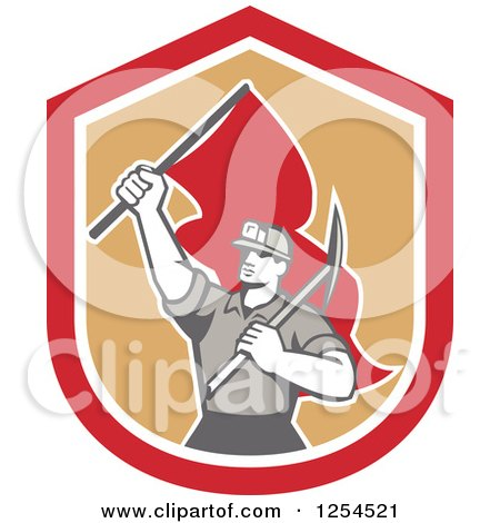 Clipart of a Retro Male Coal Miner Holding a Pickaxe and Red Flag in a Shield - Royalty Free Vector Illustration by patrimonio