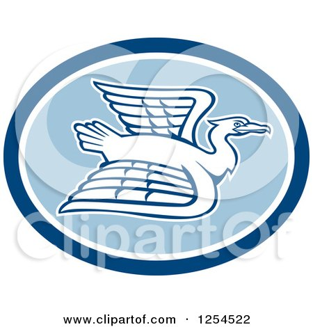 Clipart of a White Crane Flying in a Blue Oval - Royalty Free Vector Illustration by patrimonio