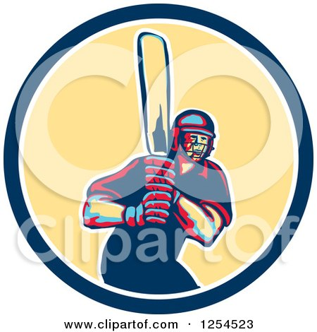 Clipart of a Retro Male Cricket Batsman in a Blue and Yellow Circle - Royalty Free Vector Illustration by patrimonio