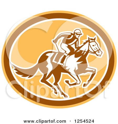 Clipart of a Retro Jockey Racing a Horse in a Brown and Orange Oval - Royalty Free Vector Illustration by patrimonio