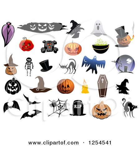 Clipart of Halloween Items - Royalty Free Vector Illustration by Vector Tradition SM
