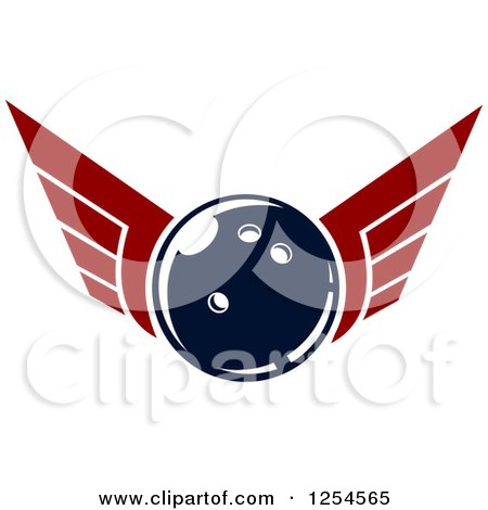 Clipart of a Retro Winged Bowling Ball - Royalty Free Vector Illustration by Vector Tradition SM