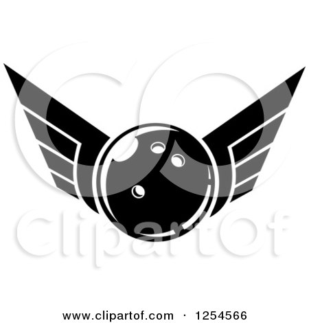 Clipart of a Black and White Retro Winged Bowling Ball - Royalty Free Vector Illustration by Vector Tradition SM