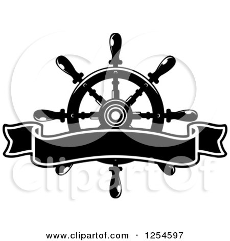 Clipart of a Black and White Blank Ribbon Banner over a Helm - Royalty Free Vector Illustration by Vector Tradition SM