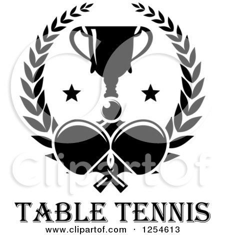 black and white ping pong ball table tennis paddles and a trophy in a ...