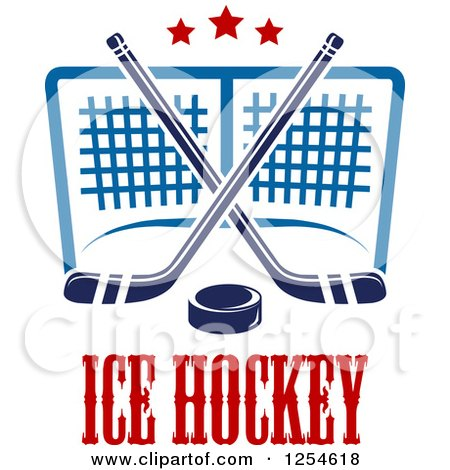 Clipart of Ice Hockey Sticks and a Puck over a Goal and Text - Royalty Free Vector Illustration by Vector Tradition SM