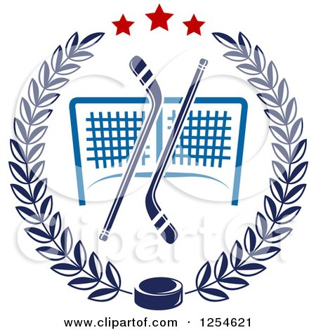 Clipart of Ice Hockey Sticks and a Puck over a Goal in a Laurel Wreath - Royalty Free Vector Illustration by Vector Tradition SM