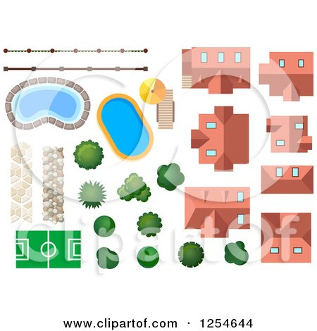 Clipart of Houses, Trees, Shrubs, Pools, Fencing and a Court - Royalty Free Vector Illustration by Vector Tradition SM
