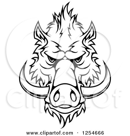 Clipart of a Black and White Boar Face - Royalty Free Vector Illustration by Vector Tradition SM